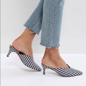 ASOS SANDY Mid Heeled Striped Mules